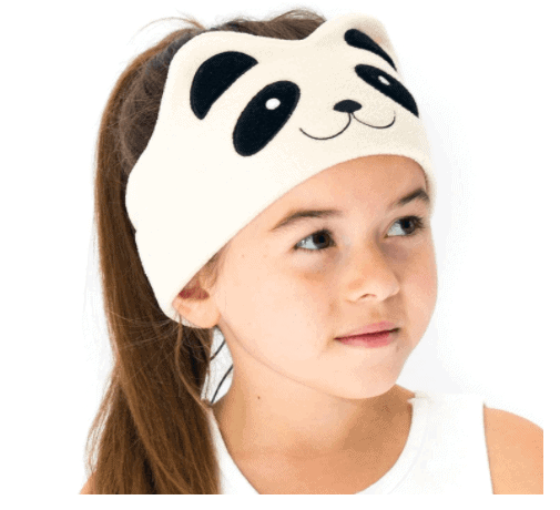 CozyPhones Over the Ear Headband Headphones - Kids Headphones Volume Limited with Thin Speakers & Super Soft Stretchy Headband - Perfect Toddlers & Children's Earphones for Home, School & Travel - Ivory Panda